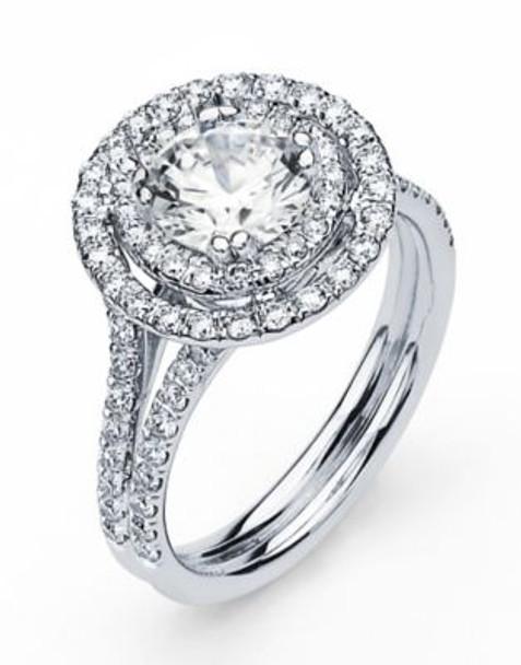 14K Round  Halo Engagement Ring-3095603