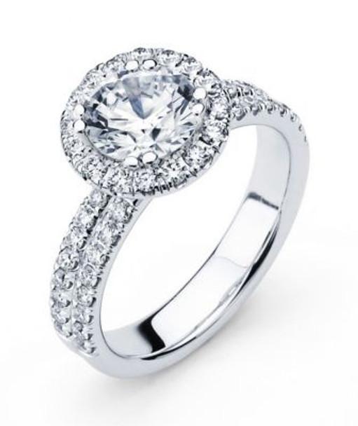 14K Round  Halo Engagement Ring-3095604