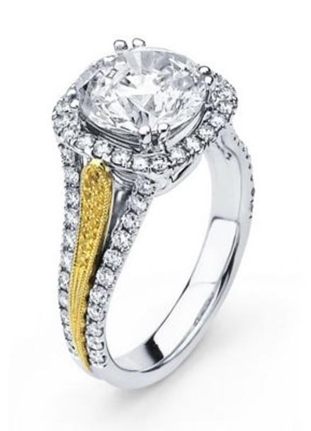 14K Round  Halo Engagement Ring-3095608