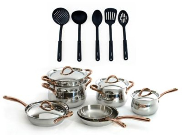 Ouro Gold 16-Piece Stainless Steel Cookware Set with Nylon Utensils-3185522