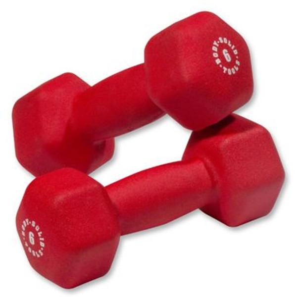 Red Pair 6 lb. Neoprene Dumbbells-3446463