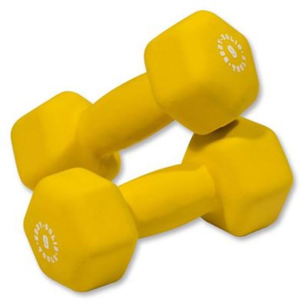 Yellow Pair 9 lb. Neoprene Dumbbells-3446466