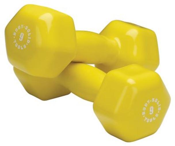 Yellow Pair 9 lb. Vinyl Dumbbells-3446495