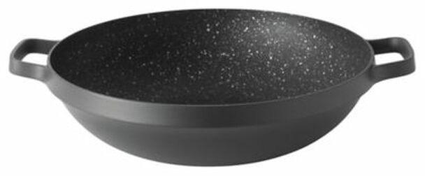 "GEM 5.7 Qt. Non-Stick Cast Aluminum 12.5"" Covered Chinese Wok-3636902"