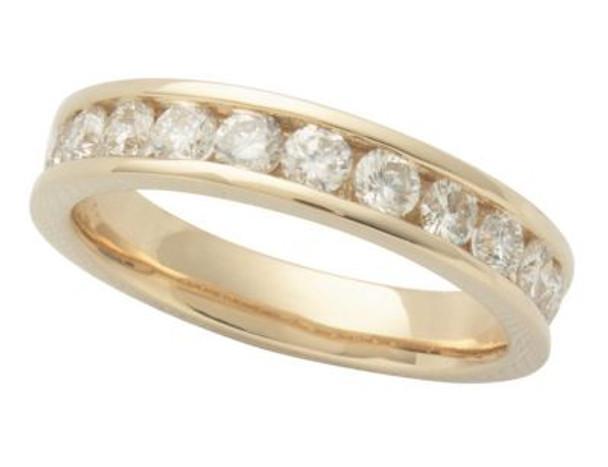 1.00Twt Round Brilliant Cut Diamond Channel Set Band, 14K Yellow Gold-3898487