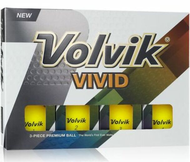 Vivid 2 Matte Yellow Golf Balls - 1 Dozen-4036241