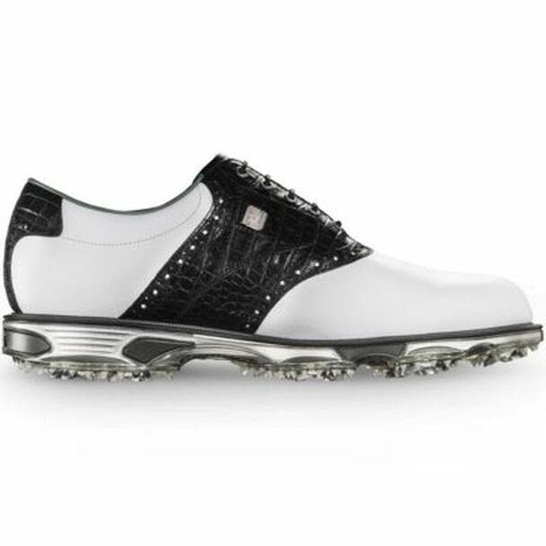 Dryjoys Tour Men's Golf Shoes - White/Black Croc-4037020