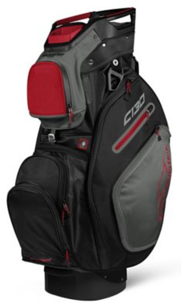 C-130 Golf Cart Bag - Black/Gunmetal/Red-4037310