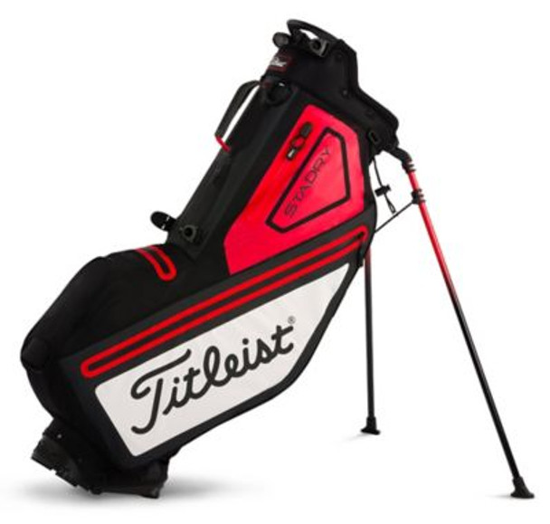 Players 4 StaDry Stand Golf Bag - Black/White/Red-4037324