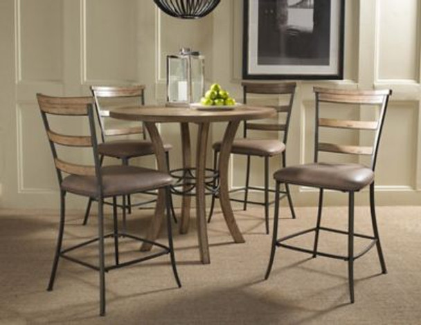 Charleston 5-Piece Counter Height Round Wood Dining Set with Ladder Back Stool-4054192