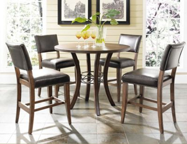 Cameron 5-Piece Counter Height Round Wood Dining Set with Parson Stool-4054203