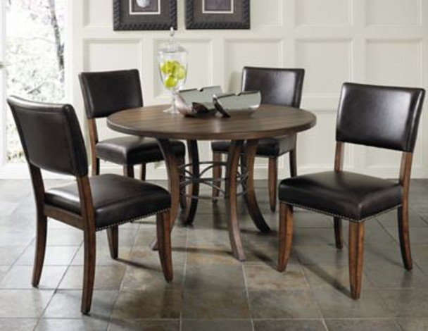 Cameron 5-Piece Round Wood Base Dining Set with Parson Chairs-4054207