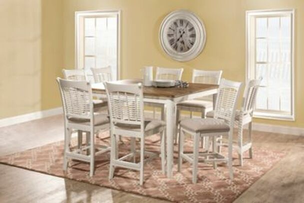 Bayberry 9-Piece Counter Height Extension Dining Table with Non-Swivel Counter Height Stools-4054274