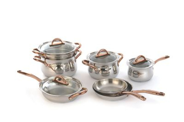 Ouro Gold 18/10 Stainless Steel 11-Piece Cookware Set - Rose Gold Handles/Glass Lids-4110776