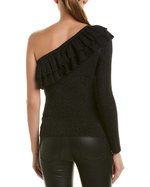 Rebecca Taylor Lurex One-Shoulder Wool-Blend Sweater~1411846413