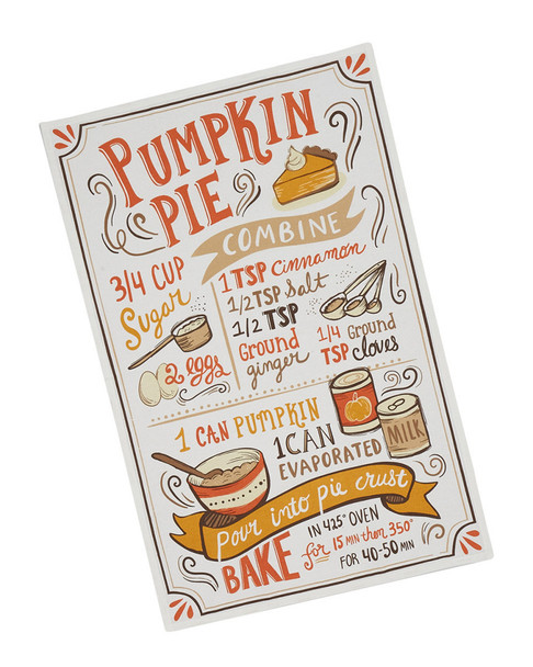 Design Imports Set of 4 Pumpkin Pie Recipe Dishtowels~3010783969