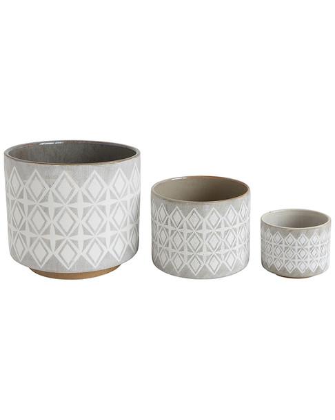 Creative Co-Op Set of 3 Textured Round Pots~3050791512