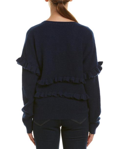 White + Warren Ruffle Trim Cashmere Sweater~1411667152