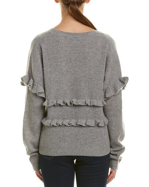 White + Warren Ruffle Trim Cashmere Sweater~1411667154