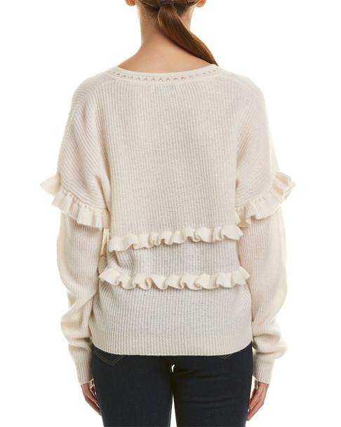 White + Warren Ruffle Trim Cashmere Sweater~1411667156