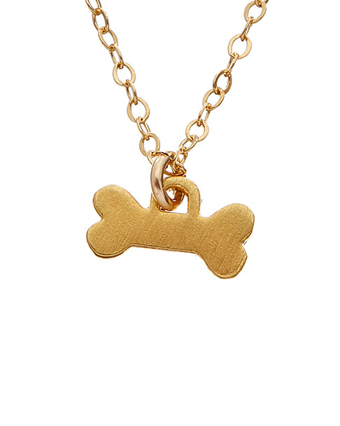 Dogeared 14K Over Silver Dog Bone Charm Necklace~6030870585