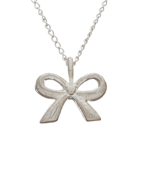 Dogeared Silver Classic Bow Charm Necklace~6030870595