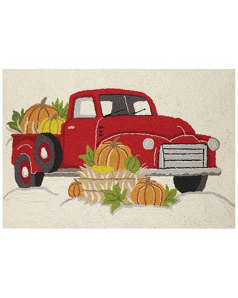 Peking Handicraft Red Truck Pumpkins Hook Rug~3041376916