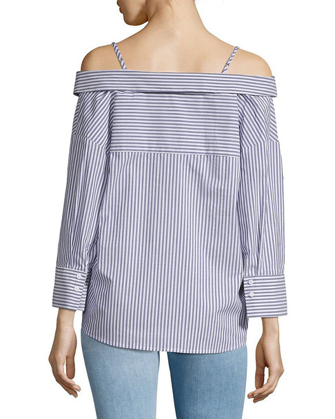 Collective Concepts Off-the-Shoulder Stripe Shirt~1411787556