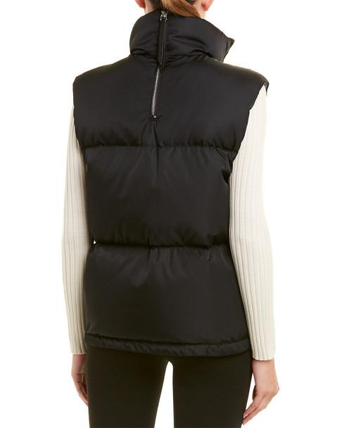 Prada Zipped Leather-Trim Puffer Vest~1411924199