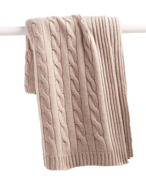 a & R Cashmere Cable Knit Cashmere-Blend Throw~3030782354