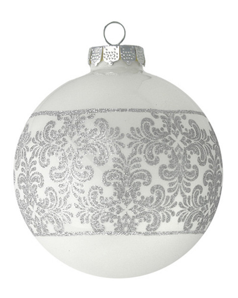 White Round with Silver Ornate Detail~3050758831