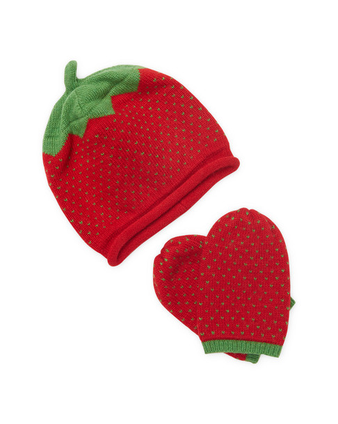Portolano Strawberry Hat & Mittens Set~1111828820
