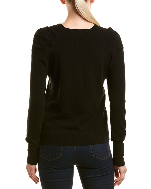 White + Warren Wool & Cashmere-Blend Pleat Sleeve Pullover~1411224126