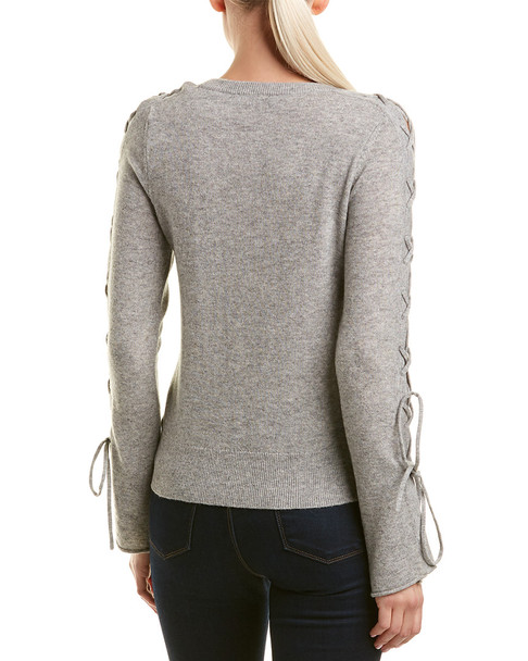 White + Warren Wool & Cashmere-Blend Lace-Up Sleeve Sweater~1411538823