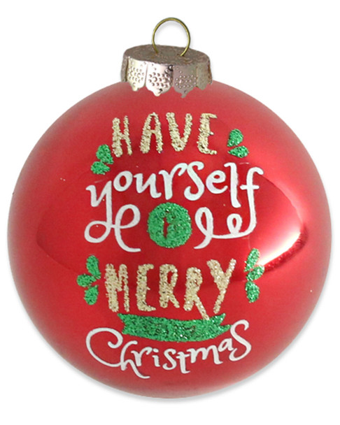 "Set of 6 Red ""Have Yourself A Merry Little Christmas"" Round Ornaments~3050498869"