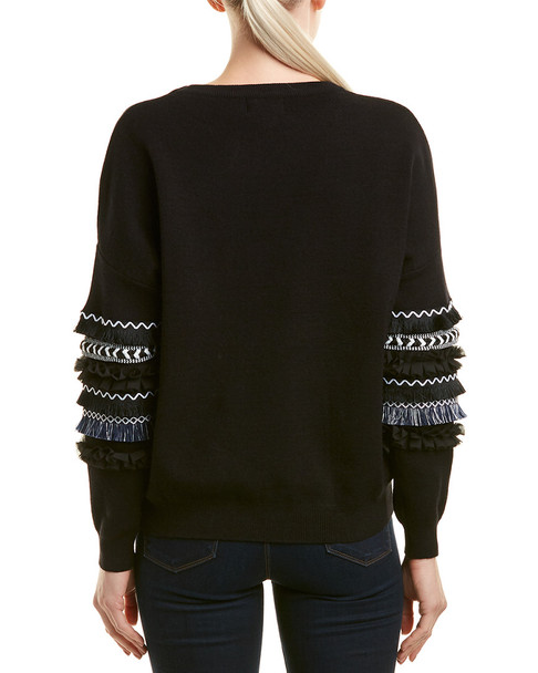 Allison Trimmed Balloon Sleeve Sweater~1411071423
