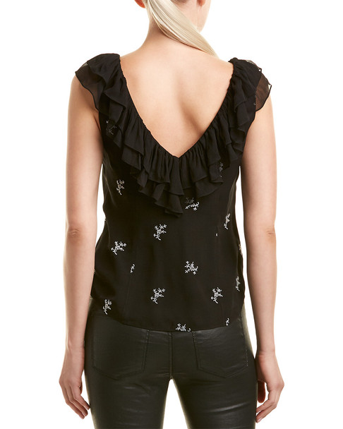 Cinq a Sept Embroidered Ruffle Silk Top~1411722053