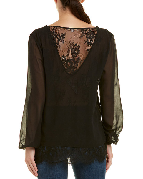 Gold Hawk Chantilly Back Silk Top~1411824577