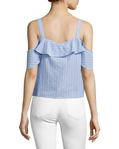 PAIGE Torie Striped Cold Shoulder Cotton Top~1411976222