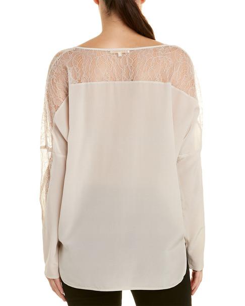 Gold Hawk Lace Insert Silk Top~1411984315