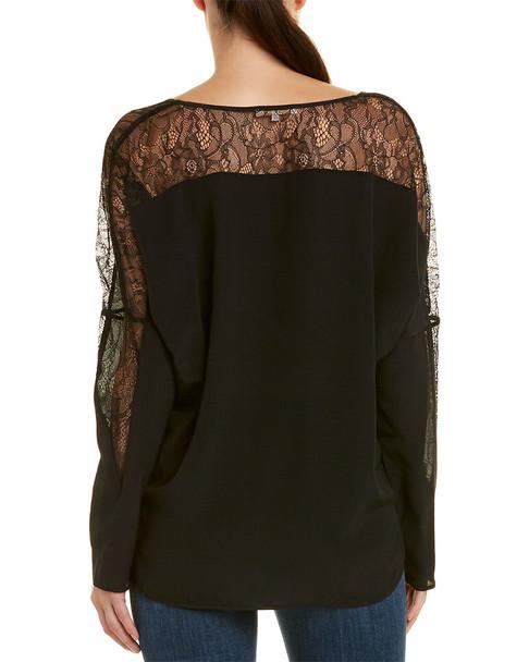Gold Hawk Lace Insert Silk Top~1411984316