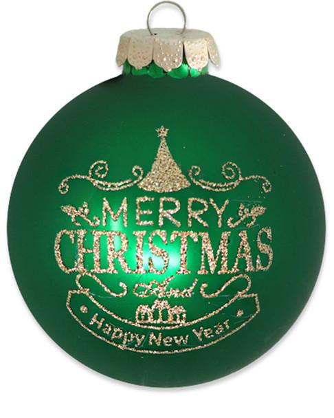 "Kat & Annie Green & Gold ""Merry Christmas"" Round~3050780619"