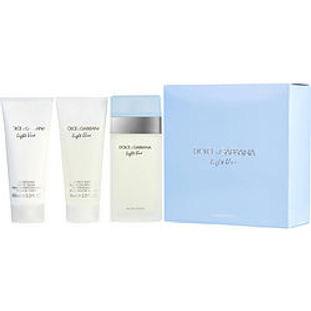 D & G Light Blue Edt Spray 3.3 Oz & Body Cream 3.3 Oz & Shower Gel 3.3 Oz (Travel Offer) By Dolce & Gabbana - For Women