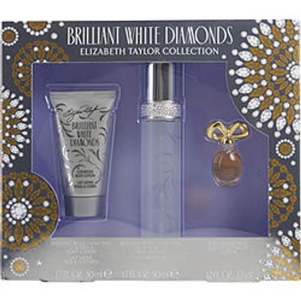 White Diamonds Brilliant Edt Spray 1.7 Oz & Body Lotion 1.7 Oz & White Diamonds Parfum .12 Oz Mini By Elizabeth Taylor - For Women