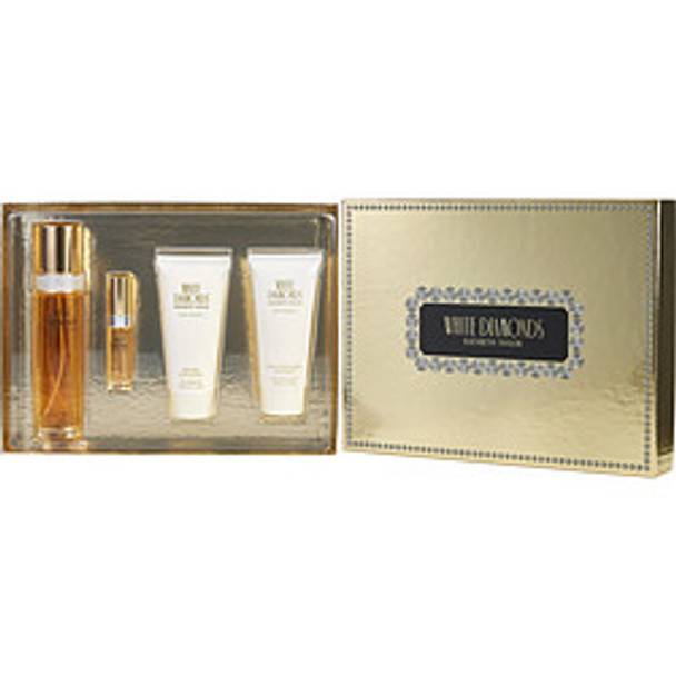 White Diamonds Edt Spray 3.3 Oz & Body Lotion 3.3 Oz & Body Wash 3.3 Oz & Edt Spray .33 Oz Mini By Elizabeth Taylor - For Women