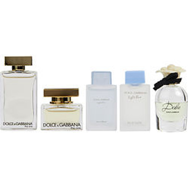 Dolce & Gabbana Variety 5 Piece Womens Mini Variety With The One Eau De Parfum & The One Edt & Light Blue Edt & Light Blue Eau Intense Eau De Parfum & Dolce Eau De Parfum And All Are Minis By Dolce & Gabbana - For Women