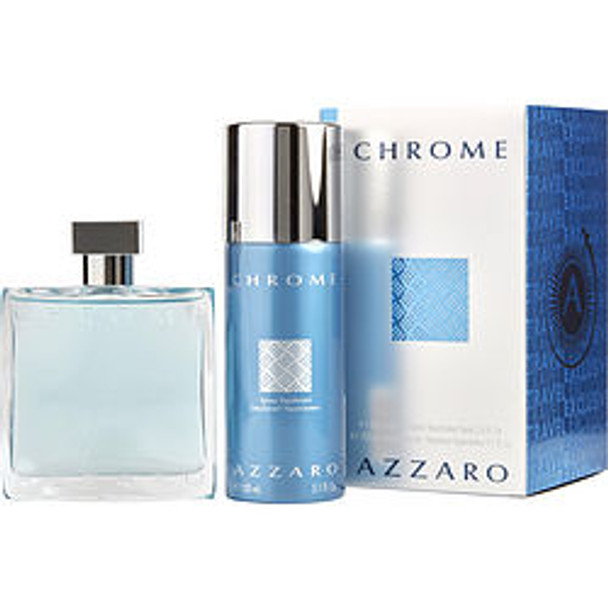 Chrome Edt Spray 3.4 Oz & Free Deodorant Spray 5.1 Oz (Travel Offer) By Azzaro - For Men