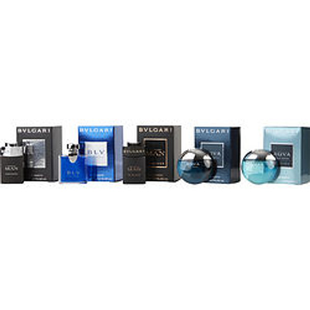 Bvlgari Variety 5 Piece Mini Variety With Bvlgari Aqua Marine Edt & Bvlgari Aqua Edt & Blv Edt & Bvlgari Man Black Cologne Edt & Bvlgari Man In Black Edp And Are .17 Oz Minis By Bvlgari - For Men