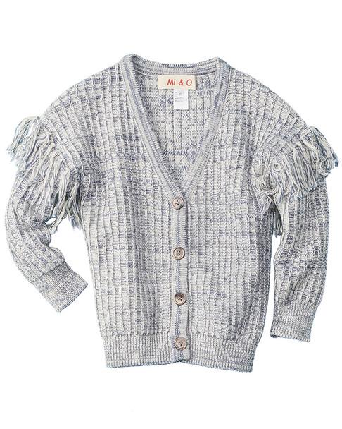 Mi & O Fringe Wool-Blend Cardigan~1511783119