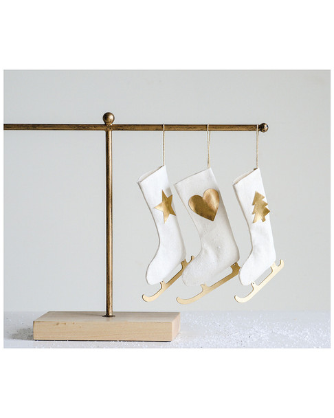 creative co-op Fabric Ice Skate Stocking Ornament~3050118750